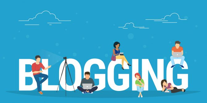 blogging sign with animated figures