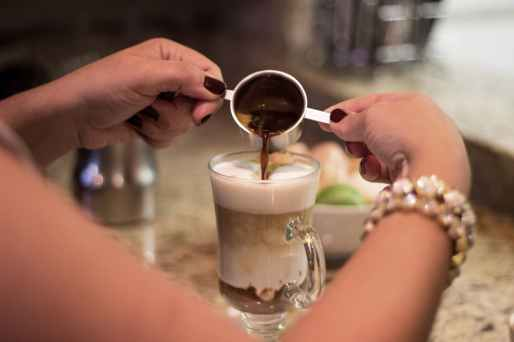 pouring cold coffee