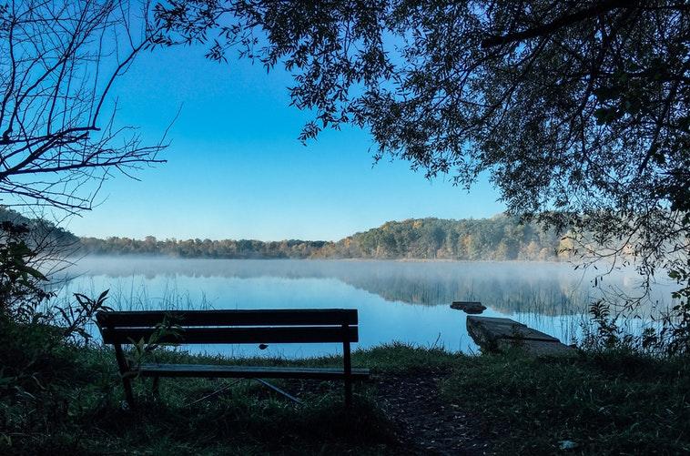 bench riverbank landscape