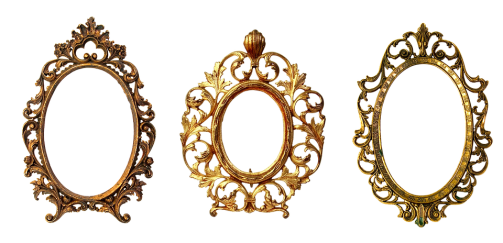 three ornate golden picture frames as hostess gifts