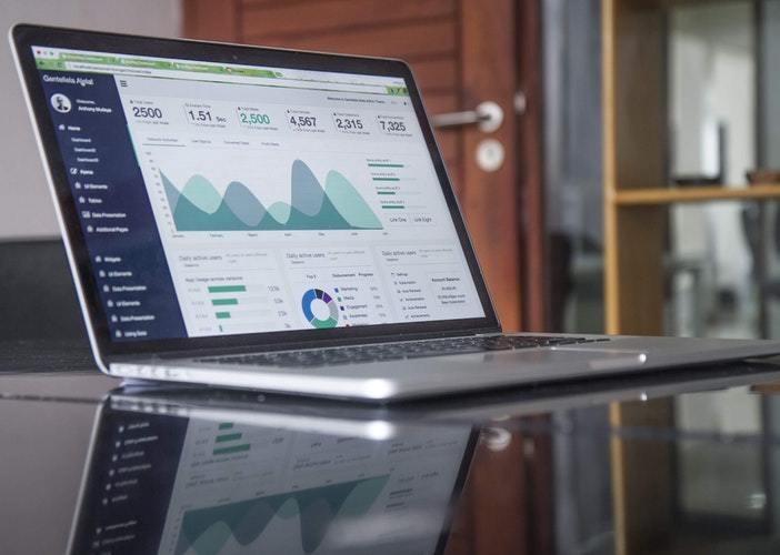 laptop showing statistics