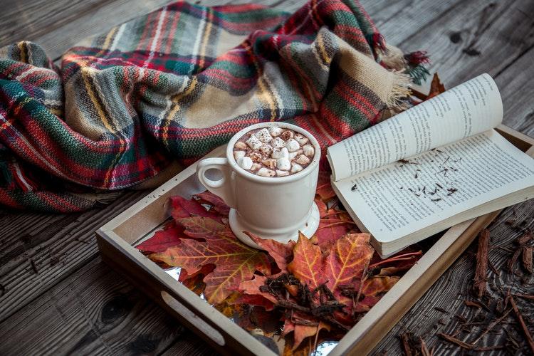 autumn favourites leaves coffee book