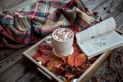 autumn favourites leaves coffee book