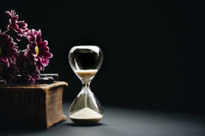 little stress busters hourglass and flowers