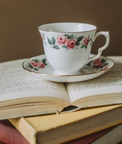 teacup and books