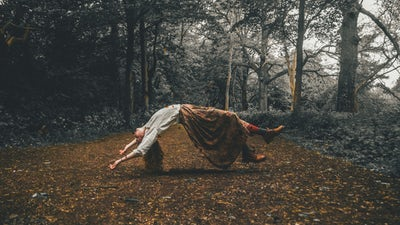 halloween and horror stories woman floating in midair