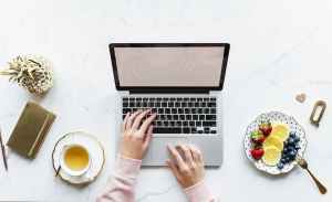 blogging laptop fruit tea