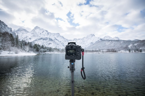 camera camera with stand near water