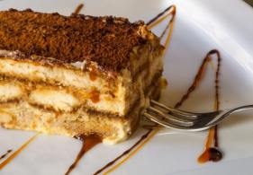 tempations caramel layer cake slice fork