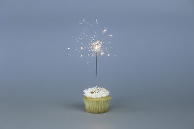 new year's resolutions Q & A cupcake with sparkler