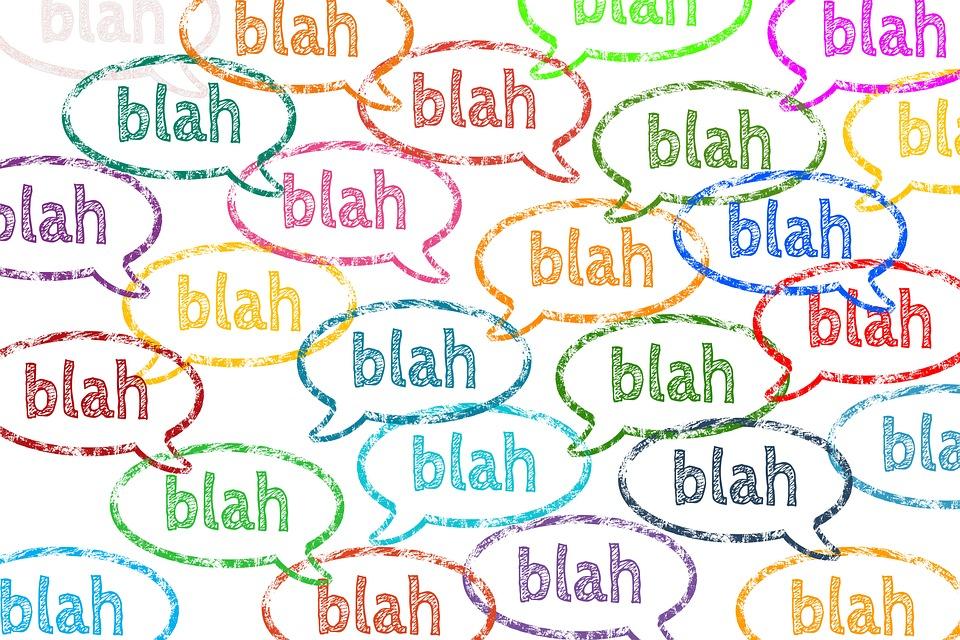 do not take umbrage blah blah speech bubbles