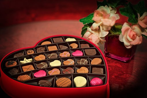 a question on valentine's day chocolate box heart shaped