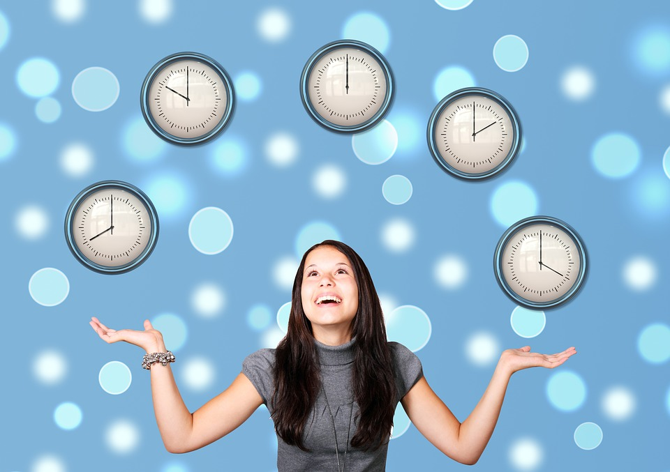 our tendency to over commit woman juggling clocks