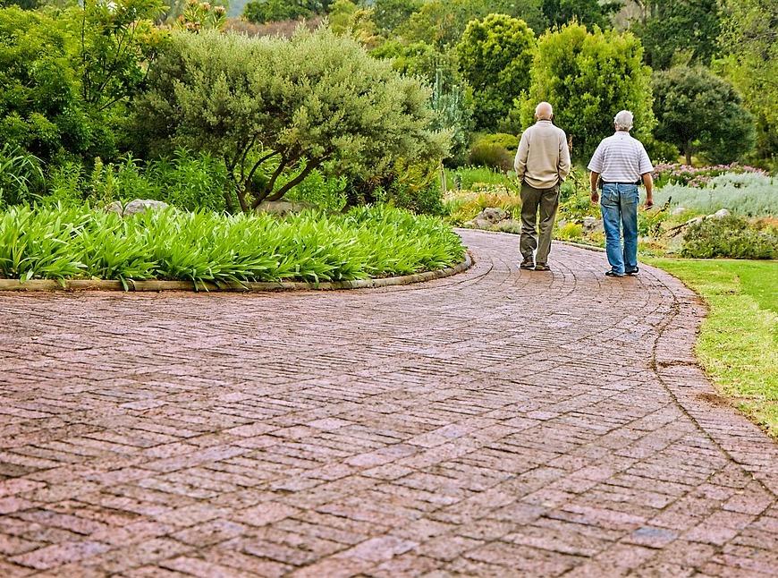 two friends walking