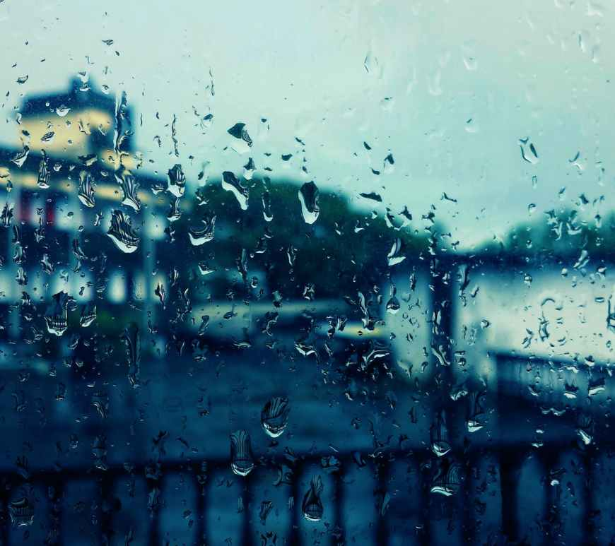 raindrops on window a rainy afternoon