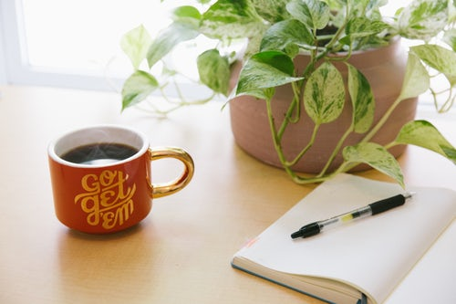 coffee cup plant notebook pen
