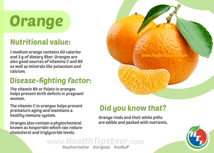 orange nutritional value