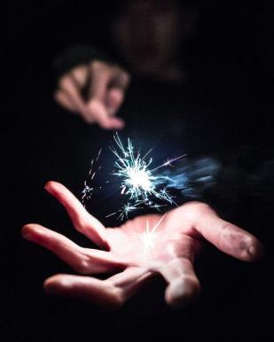 sparkler two hands