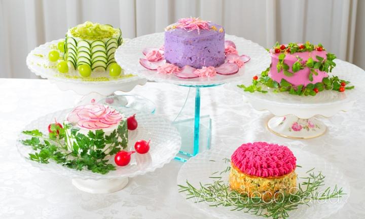 vegedeco salads 5 different cakes
