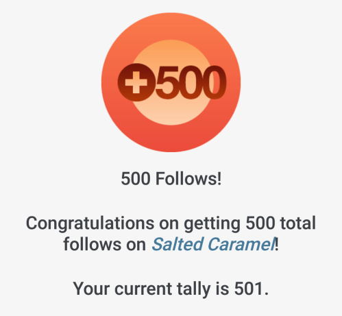 500 follows on Salted Caramel