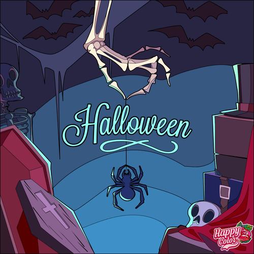 Halloween spider skeleton hand