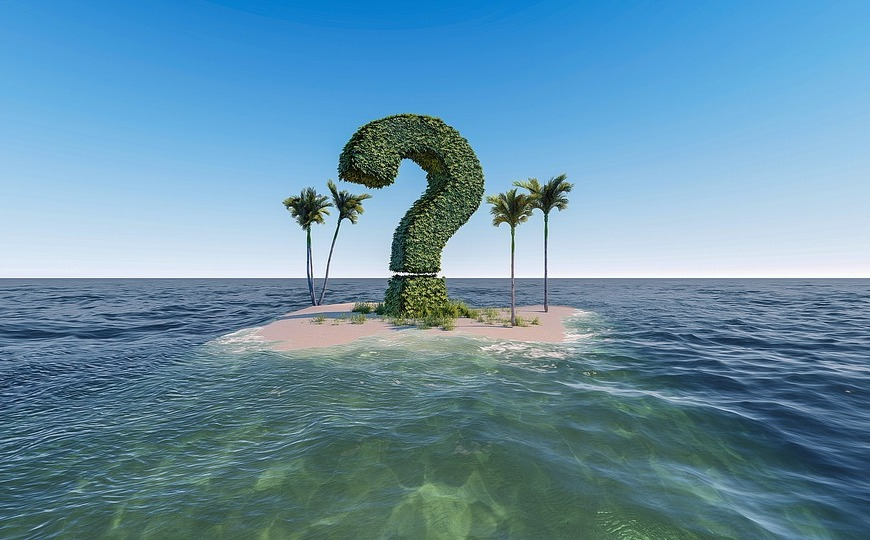 question mark island palm trees