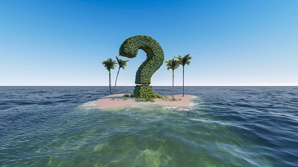 question mark island palm trees