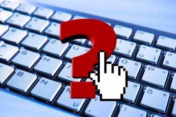 question mark keyboard hand graphic