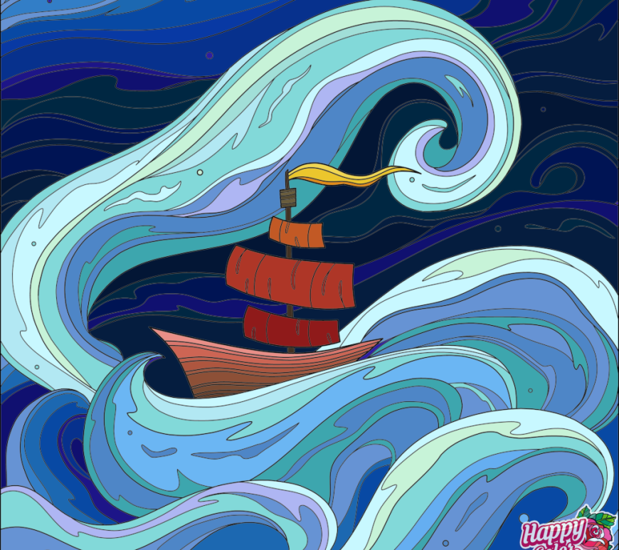 boat waves graphic