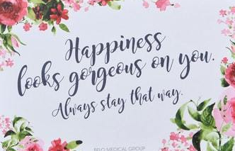 happiness looks gorgeous on you quote floral card