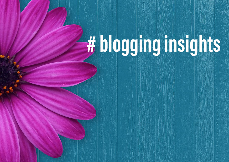 blogging insights magenta flower blue background