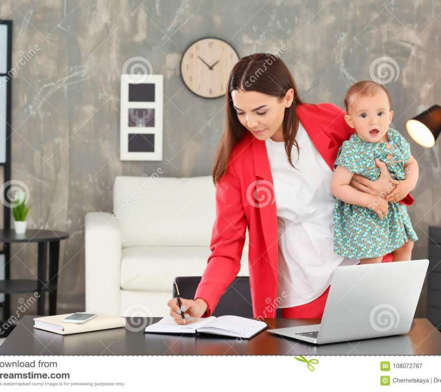 young-mother-holding-baby-working-home-young-mother-holding-baby-working-home-office-108072767