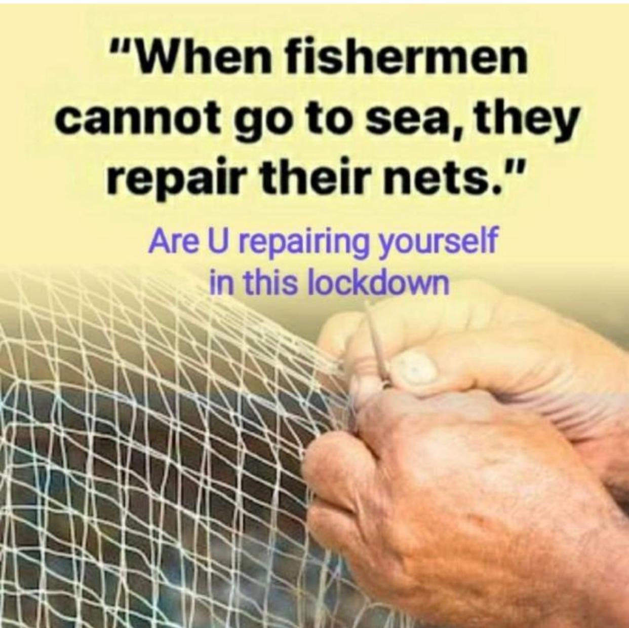 fishermen repair nets quote