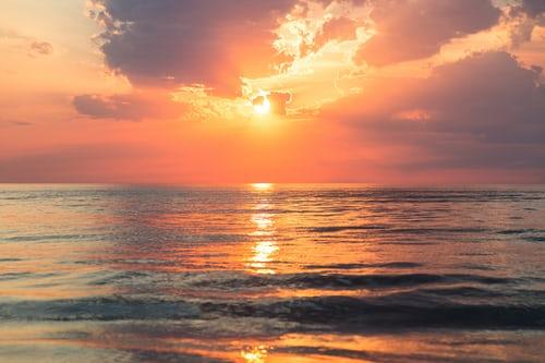dawn clouds sea