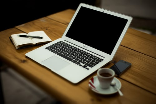 notebook pen laptop espresso