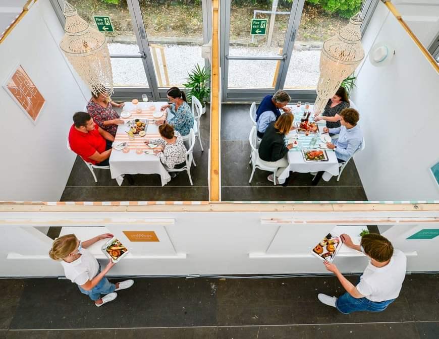 socially distanced restaurant