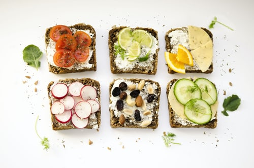 cottage cheese on bread with various toppings
