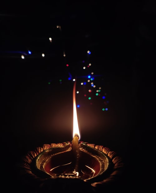 candle flame multicoloured sparks